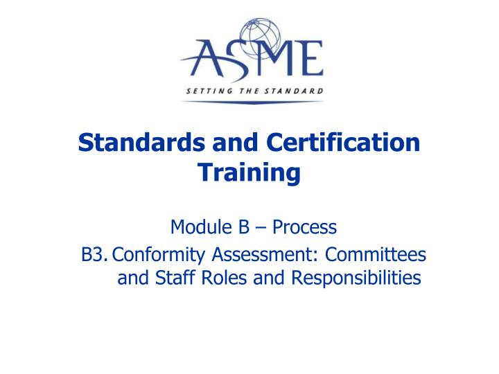 standards and certification training n.
