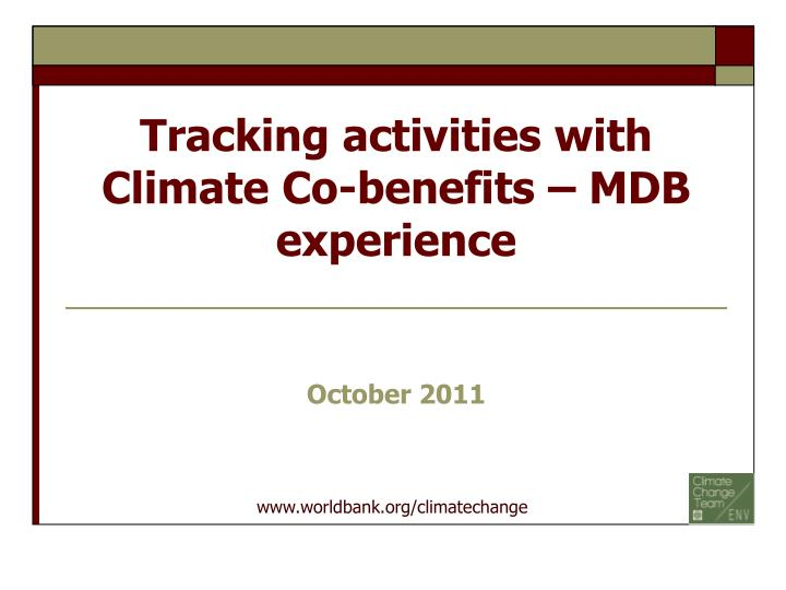 tracking activities with climate co benefits mdb experience n.