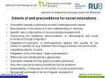 c riteria of and preconditions for social innovations