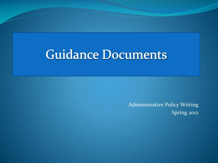 guidance documents n.