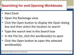searching for and opening workbooks