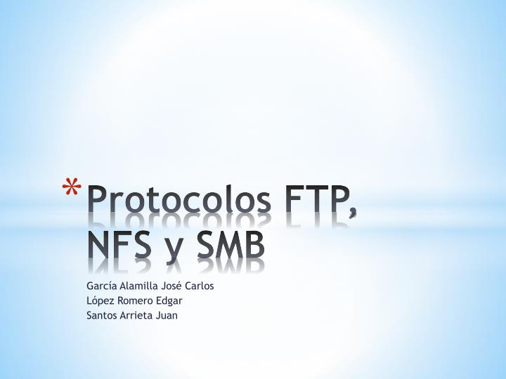protocolos ftp nfs y smb n.