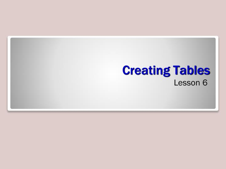 creating tables n.