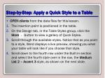 step by step apply a quick style to a table