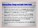 step by step merge and split table cells