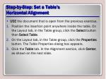 step by step set a table s horizontal alignment