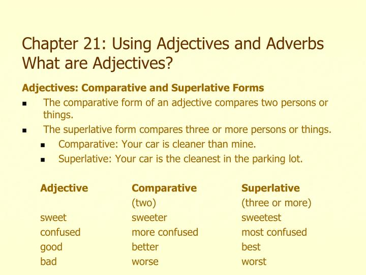 most adjective or adverb