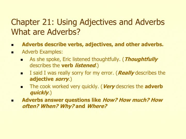 Ppt Chapter 21 Using Adjectives And Adverbs What Are Adjectives