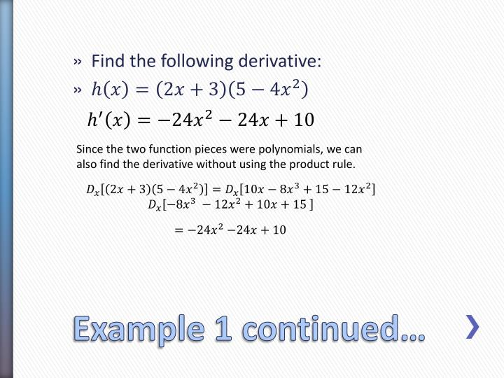Product Rule Examples Now Lets Take An Example Suppose We Have