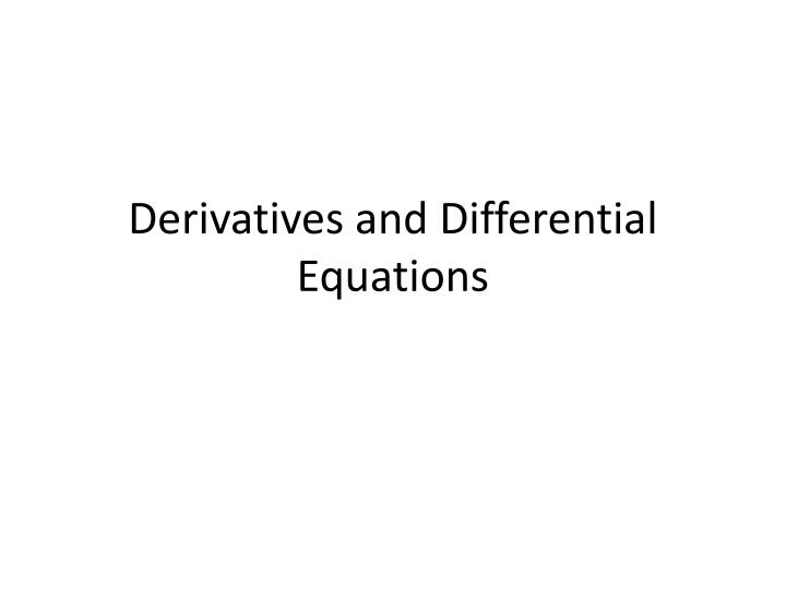 derivatives and differential equations n.