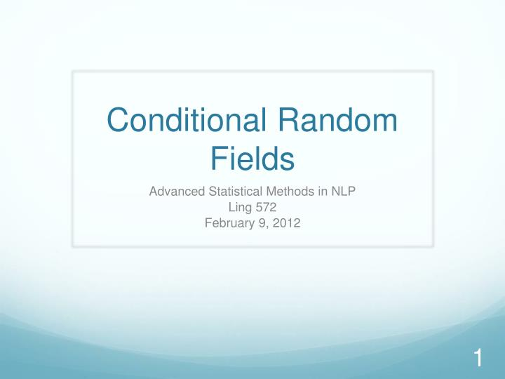 conditional random fields n.