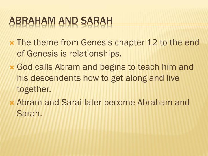 The theme from Genesis chapter 12 to the end of Genesis is relationships.