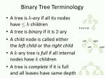 binary tree terminology