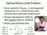 optimal binary code problem