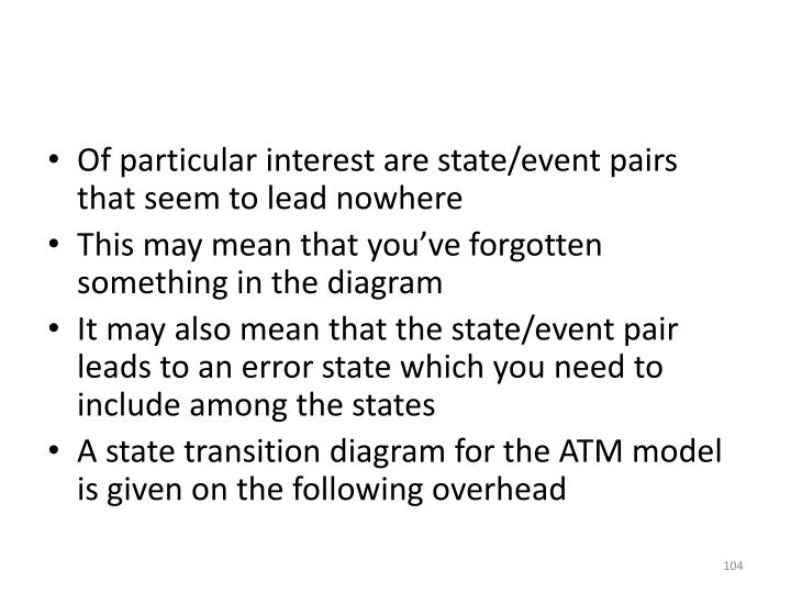 Of particular interest are state/event pairs that seem to lead nowhere