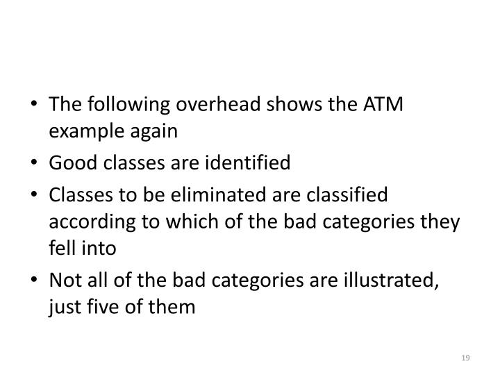 The following overhead shows the ATM example again