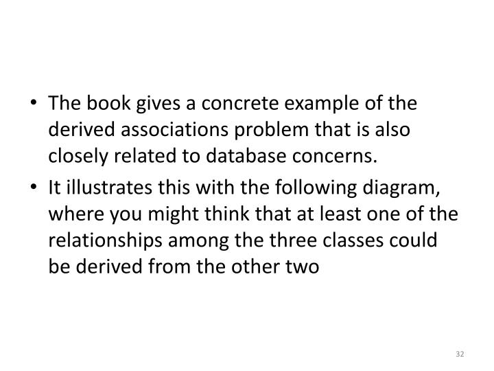 The book gives a concrete example of the derived associations problem that is also closely related to database concerns.