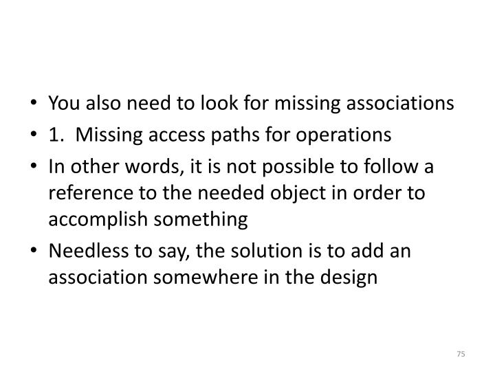 You also need to look for missing associations