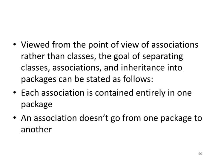 Viewed from the point of view of associations rather than classes, the goal of separating classes, associations, and inheritance into packages can be stated as follows: