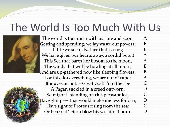 "the world is too much with us analysis essay A summary of ""the world is too much with us"" in william wordsworth's wordsworth's poetry learn exactly what happened in this chapter, scene, or section of wordsworth's poetry and what it means perfect for acing essays, tests, and quizzes, as well as for writing lesson plans."