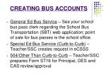 creating bus accounts