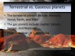 terrestrial vs gaseous planets