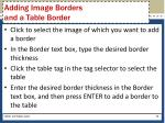 adding image borders and a table border