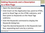 adding keywords and a description to a web page