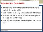 adjusting the table width