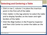 selecting and centering a table