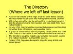 the directory where we left off last lesson