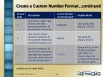 create a custom number format continued