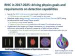 rhic in 2017 2025 driving physics goals and requirements on detection capabilities