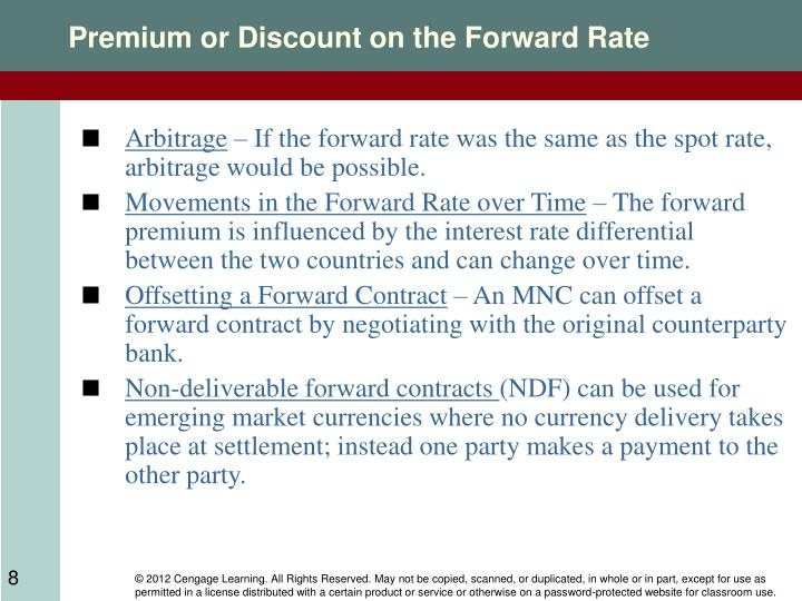 Premium or Discount on the Forward Rate