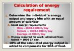 calculation of energy requirement