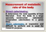 measurement of metabolic rate of the body
