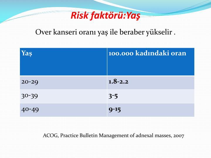 Risk faktörü:Yaş