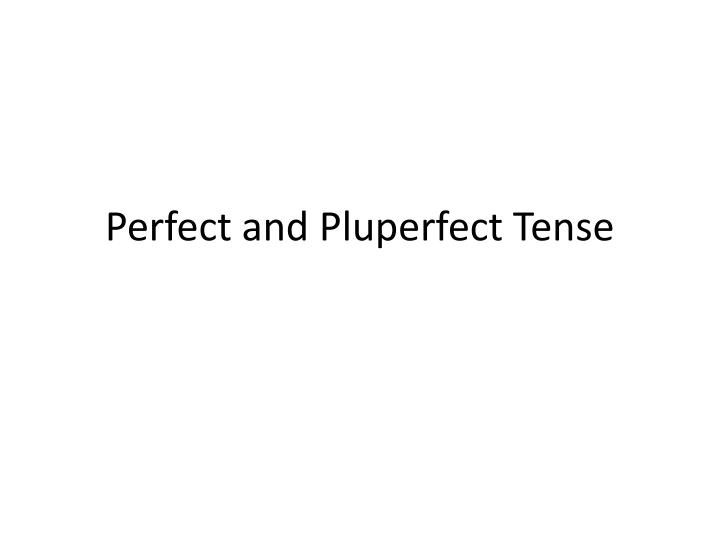 perfect and pluperfect tense n.
