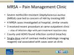 mrsa pain management clinic