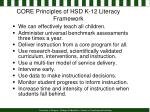 core principles of hsd k 12 literacy framework