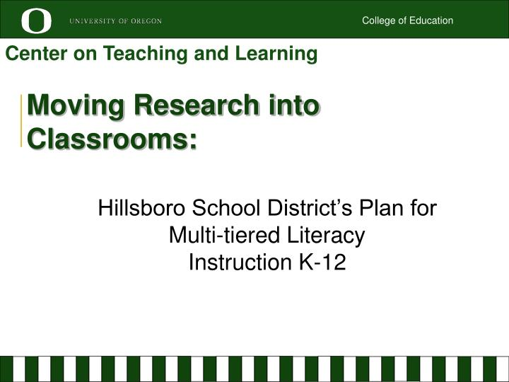 moving research into classrooms n.