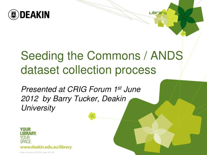 seeding the commons ands dataset collection process n.