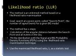 likelihood ratio llr