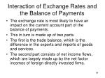 interaction of exchange rates and the balance of payments
