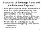 interaction of exchange rates and the balance of payments1