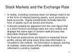 stock markets and the exchange rate