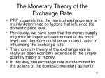 the monetary theory of the exchange rate