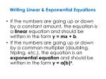 writing linear exponential equations