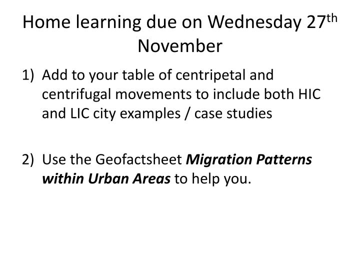 home learning due on wednesday 27 th november n.