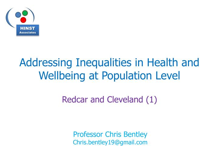 addressing inequalities in health and wellbeing at population level n.